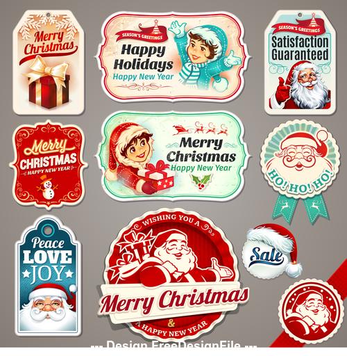 Christmas vintage labels vector