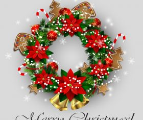 Christmas wreath decoration card vector