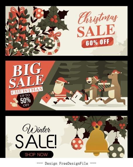 Christmas sale banners classical emblems vector