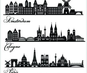 Cities building silhouette vector