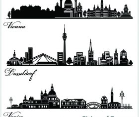 Cities of europe silhouette vector