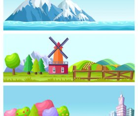 City and country nature landscape vector