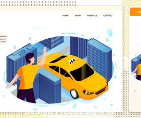 City taxi service cartoon cover vector