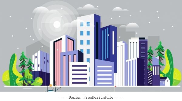 City scene painting colorful decor skyscrapers riverside vector
