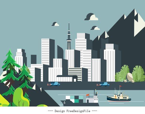City scene painting modern buildings riverside mountain vector