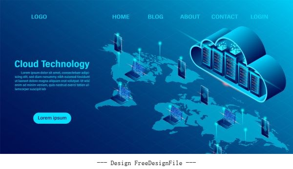 Cloud computing concept online computing technology big data flow processing concept 3d servers and datacenter isometric flat illustration design vectors