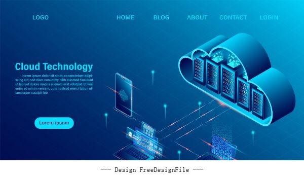Cloud computing concept online vector illustration