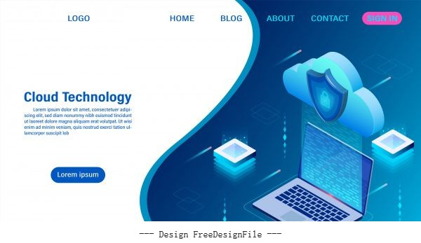 Cloud computing technology concept digital service or app with data transfering data processing protecting data security concept isometric flat vector