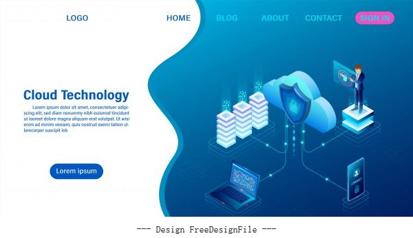 Cloud computing technology concept digital service or app with data transfering data processing protecting data security concept isometric flat vector design