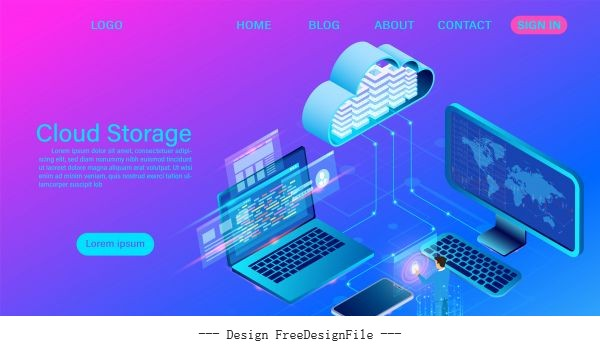 Cloud storage technology illustration vector