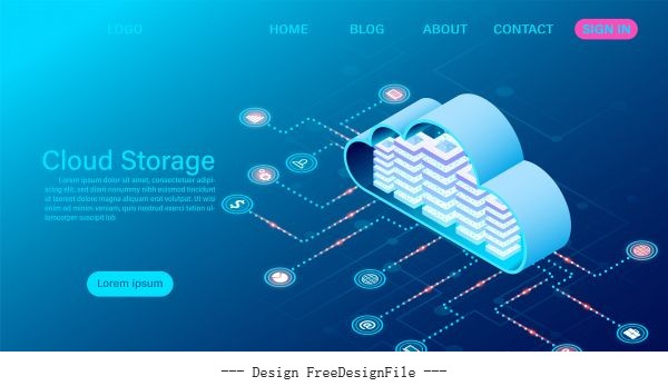Cloud storage technology and networking concept online computing technology big data flow processing concept illustration vector