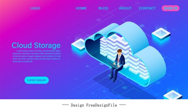 Cloud storage technology illustration vector design