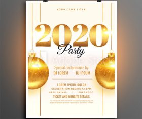 Club 2020 new year party flyer vector
