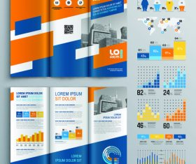 Color brochure flyer template information vector