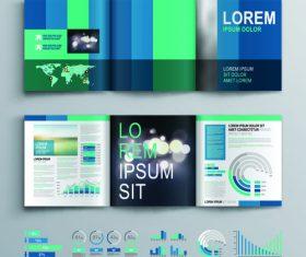 Color brochure tri fold flyer template vector