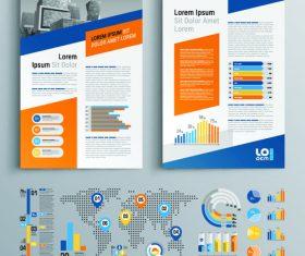 Color flyer template brochure design information vector