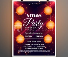 Colorful Christmas Ball Background Christmas Party Flyer Template Vector