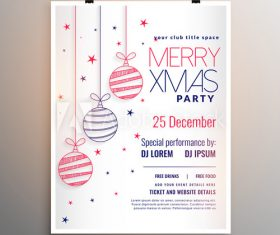 Colorful christmas ball background party flyer vector