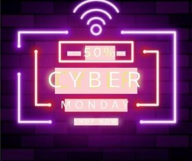 Colorful neon cyber monday vector