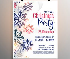 Colorful snowflake background Christmas party flyer vector