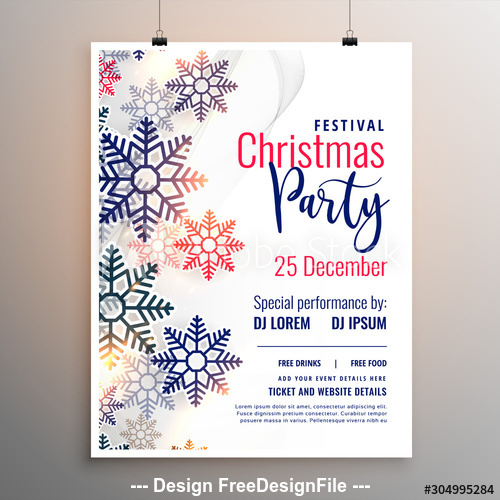 Colorful Snowflake Background Christmas Party Flyer Vector Free Download