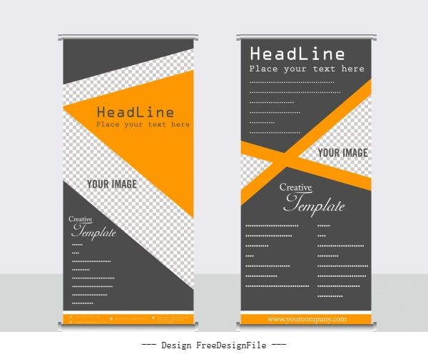 Company banner templates elegant dark triangle checkered decor design vector