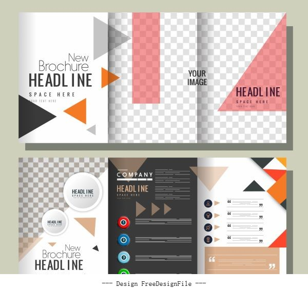Company brochure templates modern colorful checkered geometric decor vector