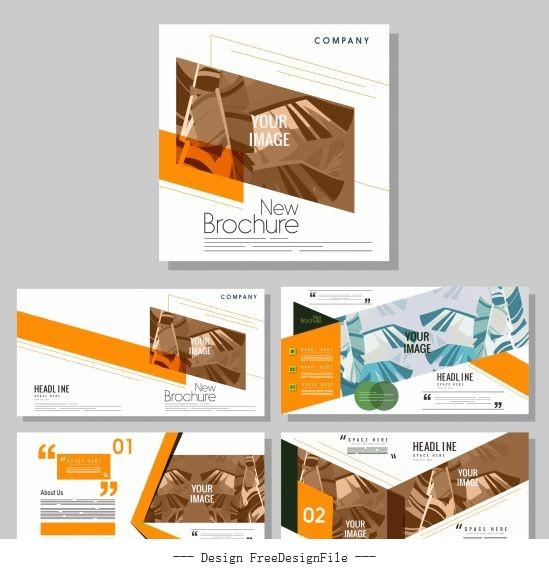 Company brochure templates modern leaves vector design