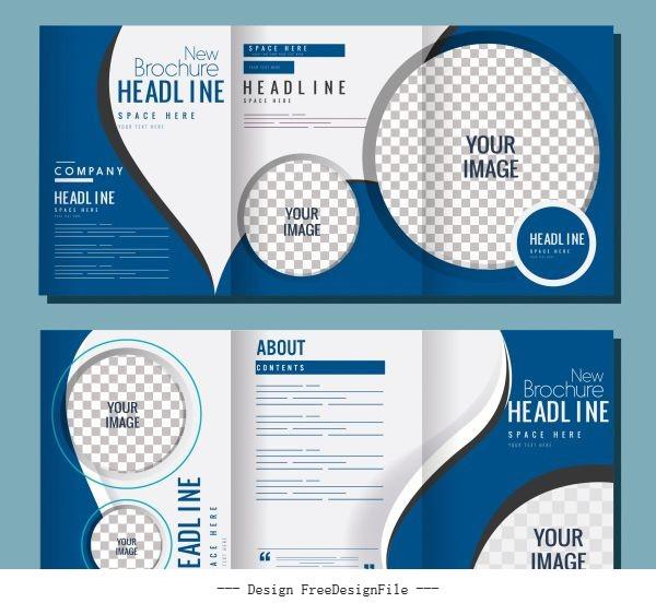 Company brochures checkered circles curves vector