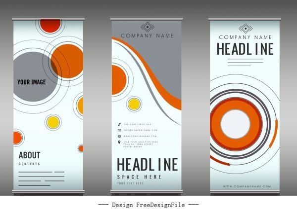 Company poster templates colorful flat circles decor vector design