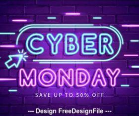 Conceito de cyber segunda feira com design de neon vector