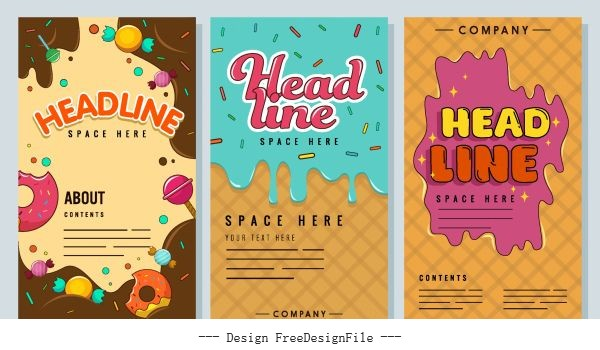 Confectionery banners templates colorful melting chocolate cream sketch vector