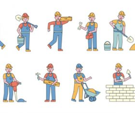 Construction worker lineart people character vector