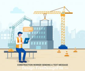 Construction worker sending a text message vector