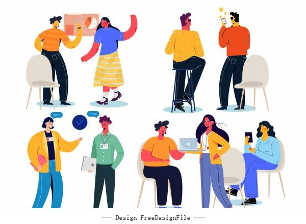 Conversation icons colorful cartoon characters vector