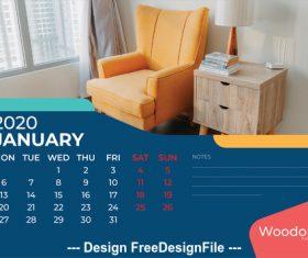 Corner cabinet and sofa background calendar 2020 vector