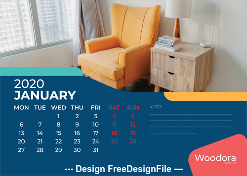 Corner cabinet and sofa background calendar 2020 vector