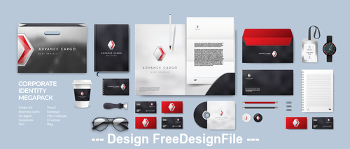 Corporate branding identity template vector on black background