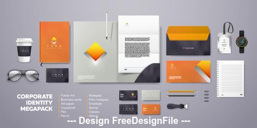 Corporate branding identity template vector orange background