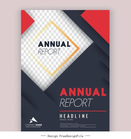 Corporate annual report template elegant modern checkered layers vectors