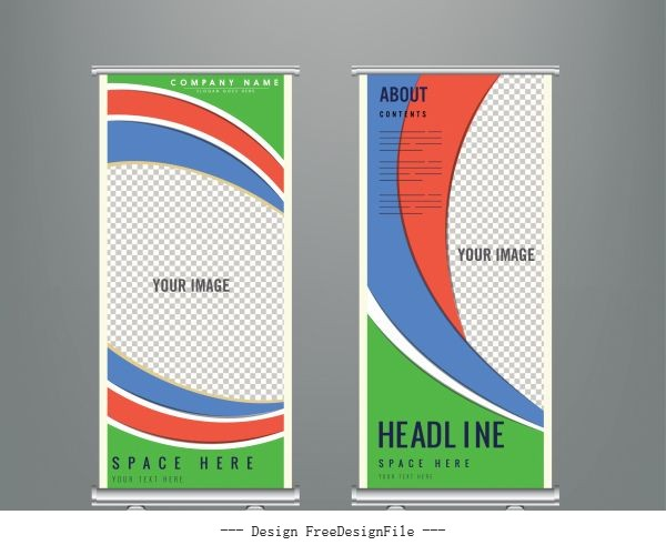 Corporate banner template colorful abstract checkered curves decor vector
