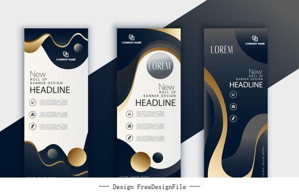 Corporate banner template shiny dark design vector