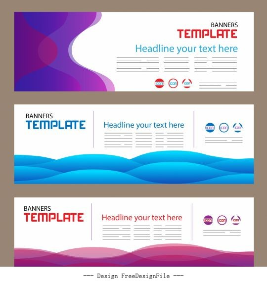 Corporate banner templates bright modern colored curves vector
