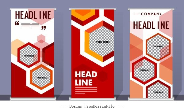 Corporate banner templates colorful flat checkered polygonal vector