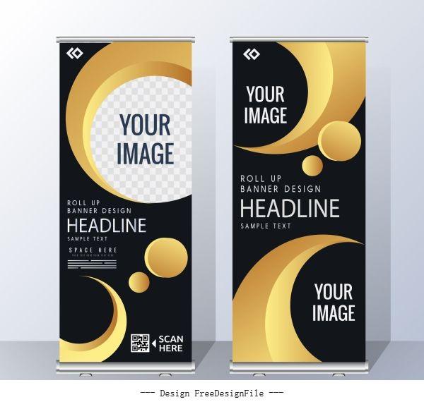 Corporate banner templates modern yellow black vector