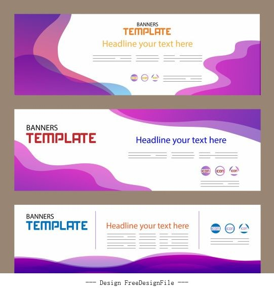 Corporate banner templates horizontal modern abstract vector
