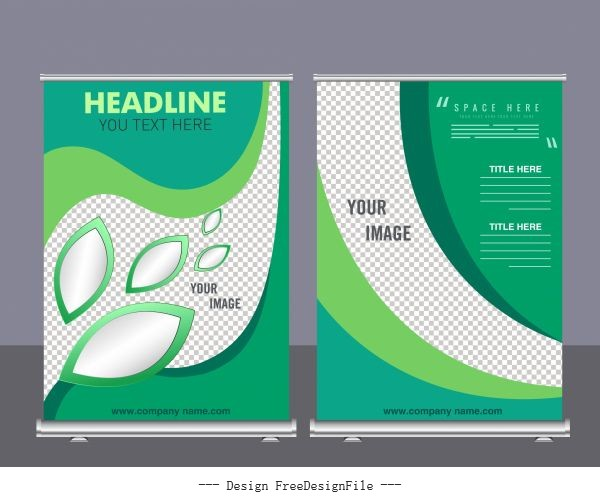 Corporate banner templates modern green checkered curves decor vector
