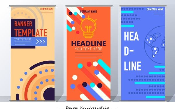 Corporate banner templates technology themes colorful vertical vector