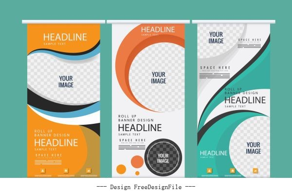 Corporate banners modern vertical checkered vector