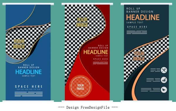 Corporate banners templates dark colorful checkered vertical vector